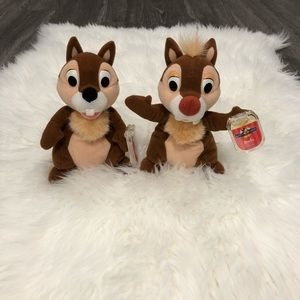 Chip and Dale Disney star beans plushies NWT